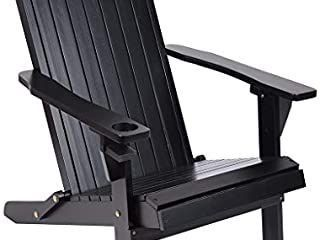 Adirondack Chair  Classic Folding and Reclining Adirondack Chair with Backrest for Patio Deck Garden  Backyard   lawn Furniture  250 Pound Capacity  Black