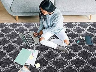lOCHAS luxury Velvet Shag Area Rug Modern Indoor Plush Fluffy Rugs  Extra Soft and Comfy Carpet  Geometric Moroccan Rugs for Bedroom living Room Girls Kids Nursery  5x8 Feet Dark Grey White