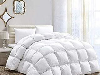 HOMBYS All Seasons Goose Down Comforter Palatial King Size 120X98 inch Duvet Insert Feather Hypo allergenic 81oz Fill Weight 100  Cotton Cover Down Proof with Corner Tabs   White Down Comforter