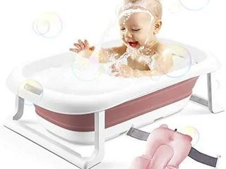 BEWAVE Baby Bathtub  Foldable Infant Bath Tub  Collapsible Newborn Toddler Bathing Support with Cushion