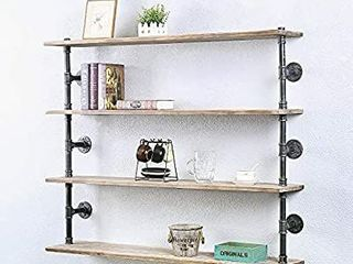 GWH Industrial Pipe Shelf Wall Mounted Steampunk Real Wood Book Shelves 4 Tier Rustic Metal Floating Shelves Wall Shelving Unit Bookshelf Hanging Wall Shelves Farmhouse Kitchen Bar Shelving 48in