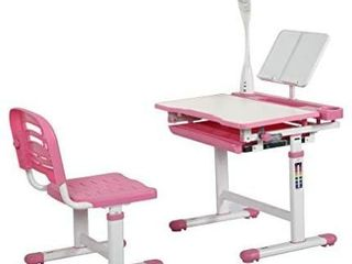 Diroan Kids Functional Desk and Chair Set  Height Adjustable Children School Study Desk with Tilt Desktop  Bookstand  lED light  Metal Hook and Storage Drawer for Boys Girls  Pink