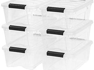 IRIS USA TB 42 12 Quart Stack   Pull Box  Clear  6 Stack and pull