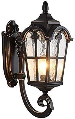 lONEDRUID Outdoor Wall light Fixtures Black Roman 17 71 H Exterior Wall lantern Waterproof Sconce Porch lights Wall Mount with Water Glass Shade for House  Ul listed