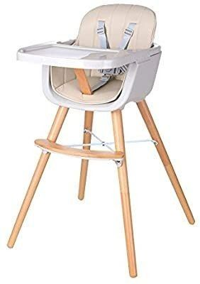 Foho Baby High Chair  Perfect 3 in 1 Convertible Wooden High Chair with Cushion