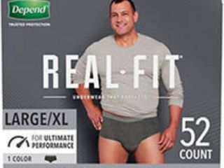 Depend Real Fit Incontinence Underwear for Men  Maximum Absorbency  l Xl  Black   52ct