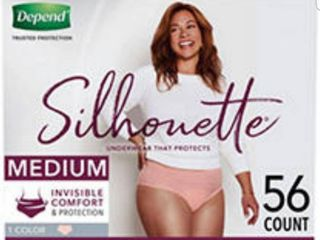 Depend Silhouette Incontinence Underwear for Women   Maximum Absorbency   Medium   Pink   56ct  2 Packs of 28