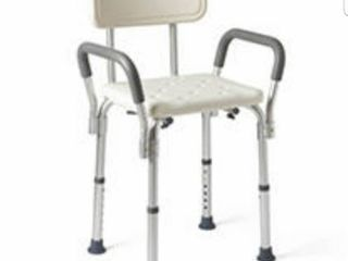 Medline Shower Chair Spa Bath Seat with Padded Armrests and Back  350lb Weight Capacity  Adjustable Height Bench