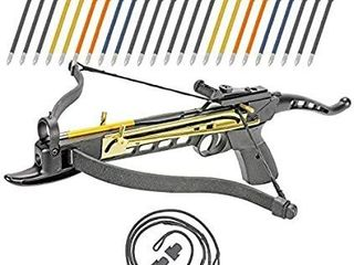 Crossbow Pistol Self Cocking 80 lBS Adjustable Sights  Aluminum Arrow Bolts Safety Feature