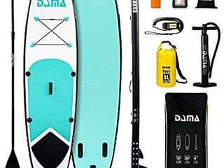 DAMA Youth 10 x30 x4  Paddle Board Inflatable sup  isup  Drop Stitch  Youth Board  Premium Board Accessories  Floating Paddle  Single Hand Pump  Waterproof Bag  All Round Board Green