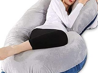 Chilling Home Pregnancy Pillow  55 inches Full Body Pillow Maternity Pillow for Pregnant Women  Comfort C Shaped Zootzi Pillow with Removable Washable Velvet Cover Grey and Navy Blue