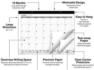Professional Desk Calendar 2020 2021  large Monthly Pages   22 x17    Runs from June 2020 Through December 2021   Desk Wall Calendar can be Used Throughout 2020 2021