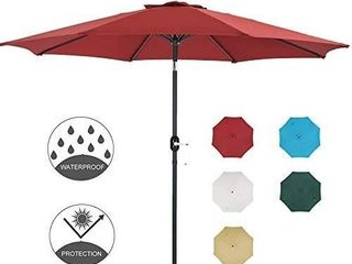 Patio Watcher 11 Ft Patio Umbrella Outdoor Umbrella with Push Button Tilt and Crank  8 Steel Ribs  Red