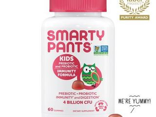 SmartyPants Vitamins Kids Prebiotic and Probiotic Immunity Formula  Strawberry CrAme  60 Gummies