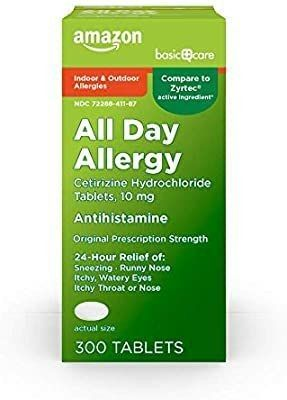 Amazon Basic Care All Day Allergy  Cetirizine Hydrochloride Tablets  10 Mg  A