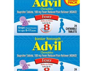 Advil Junior Strength Pain Reliever Fever Reducer Chewable Tablets   Ibuprofen  NSAID    Grape Flavor   24ct 2pk