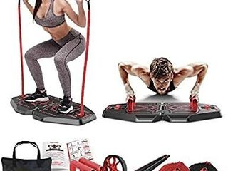 Fusion Motion Portable Gym with 8 Accessories Including Heavy Resistance Bands  Tricep Bar  Ab Roller Wheel  Pulleys and More