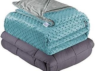 Quility Weighted Blanket   Removable Cover   20 lbs   60 x80    Grey Aqua