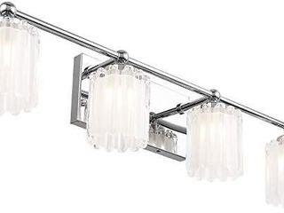 Mateyrie 4 light Bathroom Vanity light  Chrome Bathroom light Fixtures lED Modern Crystal Glass Vanity lights Fixtures
