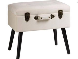 Velvet Upholstered Storage Stool with Black legs White   Glitzhome