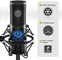 TONOR USB Microphone Kit  Streaming Podcast PC Condenser Computer Mic for Gaming  YouTube Video  Recording Music  Voice Overi1 4Studio Mic Bundle with Adjustment Arm Stand  Q9