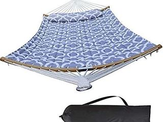 HENG FENG 2 Person Double Hammock Quilted Fabric with Detachable Pillow and Curved Bamboo Spreader Bars  Grey
