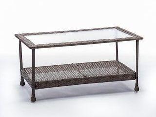 allen   roth Glenlee Rectangle Wicker Outdoor Coffee Table 21 5 in W x 39 25 in l