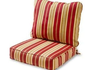 2 Piece Deep Seat Cushion Red Stripe Polyester Outdoor Patio lounge Furniture