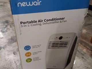 NewAir Portable Air Conditioner and Dehumidifier 8 000 BTU  4 500 BTU  DOE  Ultra Compact with Remote Control  NAC08KWH00 White