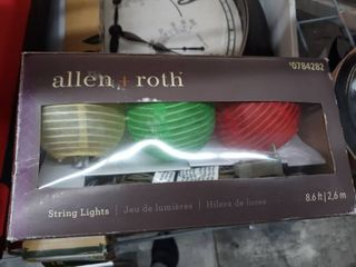 allen   roth 8 6 ft White Fabric Shade Incandescent Plug in Globe String lights