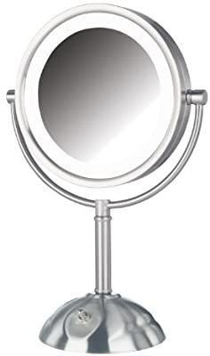 led lighted Vanity Makeup Mirror Halo light 2 Two Double Sided Magnifying Nickel