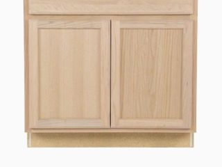 Project Source 36 in W x 35 in H x 23 75 in D Natural Unfinished Door and Drawer Base Stock Cabinet
