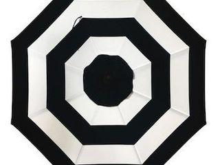allen   roth 9 ft Octagon Black and White Stripe with Brown Steel Frame Auto Tilt Market Patio Umbrella