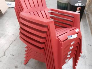 Set of 6 Adams Mfg Corp Red Resin Stackable Adirondack Chair