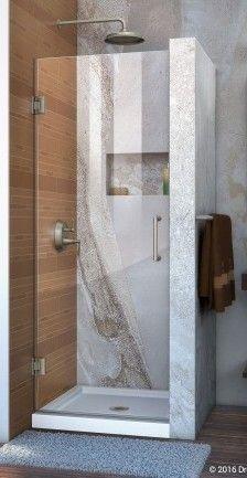 Dreamline Unidoor 30 in  W x 72 in  H Frameless Hinged Shower Door in Brushed Nickel