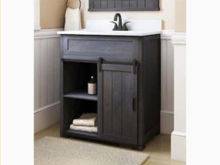 Style Selections Morriston 30 in Distressed Java Single Sink Bathroom Vanity with White Engineered Stone Top