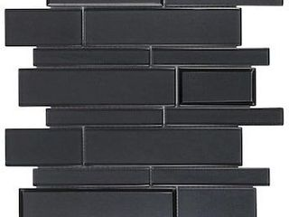 Elida Ceramica Night Reflections Glass 12 in x 12 in Glossy Glass linear Mosaic Wall Tile