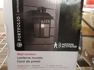 Set Of 2 Portfolio 11 5 in H Black Motion Activated Outdoor Wall lights