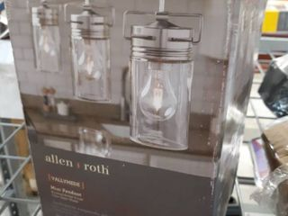 allen   roth Vallymede Brushed Nickel Farmhouse Clear Glass Jar Pendant light