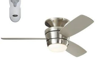 Harbor Breeze Mazon 44 in Brush Nickel Indoor Flush Mount Ceiling Fan with Remote  3 Blade