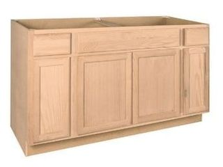 Project Source 60 in W x 35 in H x 23 75 in D Natural Unfinished Sink Base Stock Cabinet
