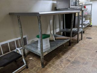 Stainless Steel Prep Table  With Contents