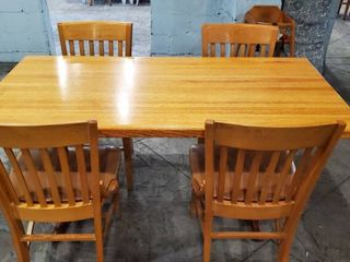 5ft Wood Dining Table With 4 Chairs