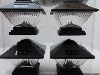 Hampton Bay Posts Post Cap Outdoor Black Solar lED lights  4 Pack  QPP4 N3 BK W4