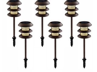 Hampton Bay Solar Mediterranean Bronze Outdoor Integrated lED 3 Tier landscape Path light with Ribbed lens  6 Pack