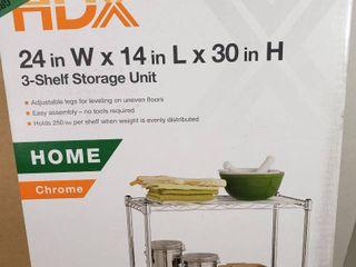 HDX Chrome 3 Tier Steel Wire Shelving Unit  23 in  W x 30 in  W x 13 in  D  Grey