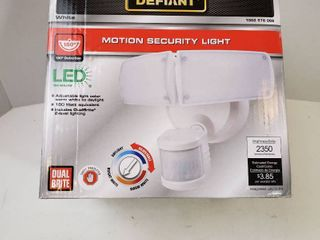 Defiant 180 Degree White Motion Activated Outdoor Integrated lED Twin Head Flood light with Adjustable Color Temperature