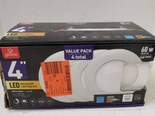 Globe Electric Designer Ultra Slim 4 in  White Integrated lED Recessed Kit  4 Pack