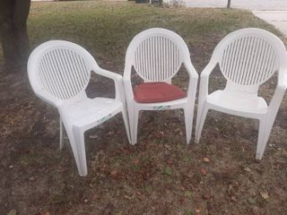 3 White Patio Chairs