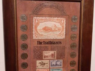 Frame with Buffalo Nickels and Stamps